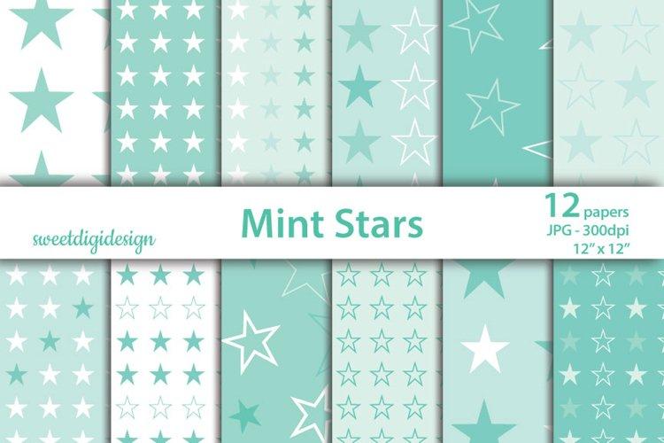 Pastel mint stars seamless digital paper example image 1