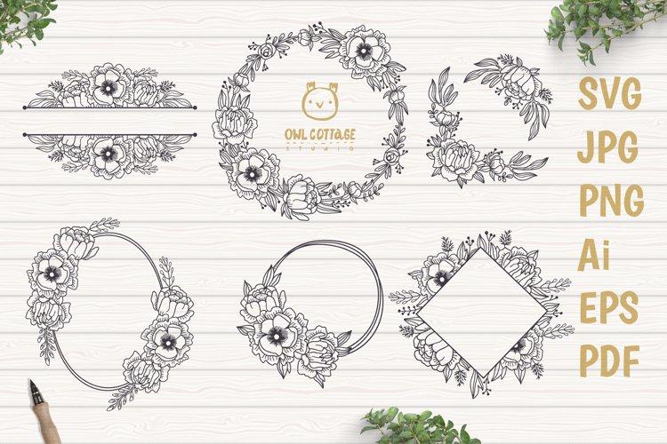 Flower Wreaths SVG Bundle , Flower monogram cut file example image 1