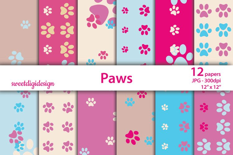 Pink and blue paws seamless pattern example image 1