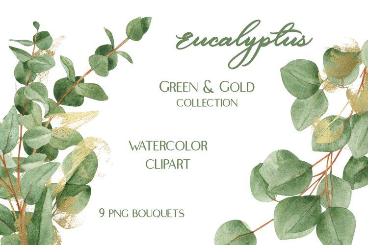 Watercolor Eucalyptus Green Gold Bouquets Clipart