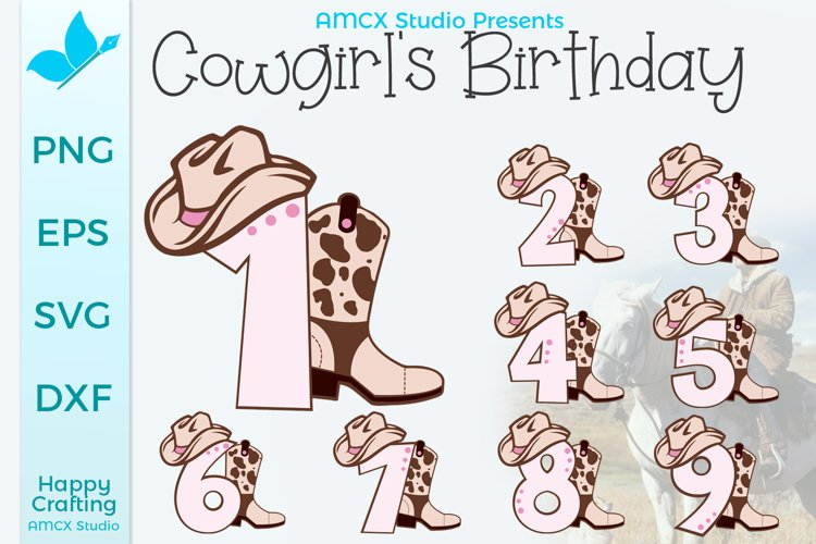 Cowgirl Number 1 - 9 Birthday Numbers