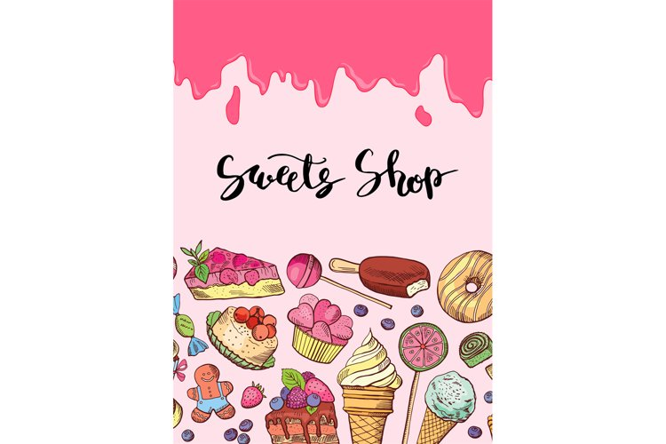 Vector hand drawn sweets illustration banner example image 1
