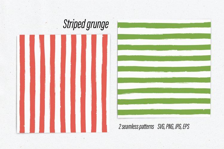 Striped grunge seamless patterns red & green SVG PNG JPG EPS