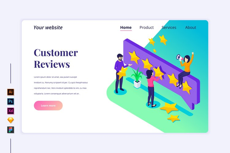 Isometric Customer Reviews Landing page illustration example image 1