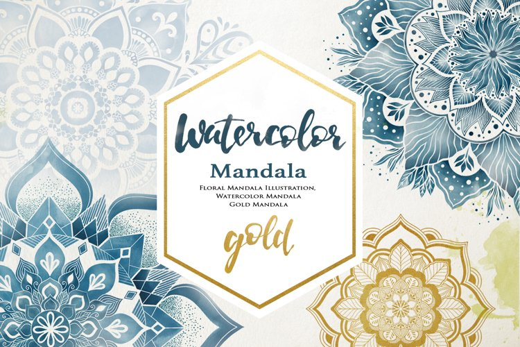 Floral Watercolor & Gold Mandala