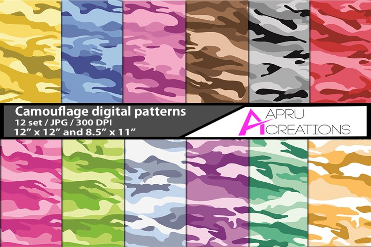 camouflage digital papers, camouflage pattern, digital papers, high quality 300 dpi, 12 x 12 inch , and 8.5 x 11 inch