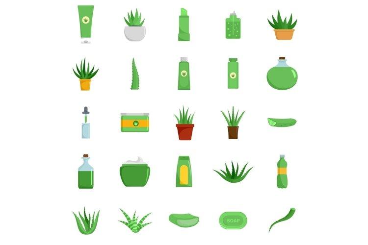 Aloe vera plant logo icons set, flat style example image 1