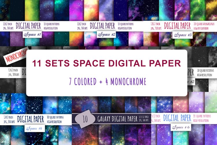 110 galaxy backgrounds. Space digital paper