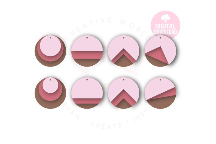 Round Stacked Earring Template |48 Templates Earring svg example image 1