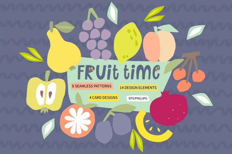 Fruit time. Summer clipart. Abstract modern pattern. example image 1