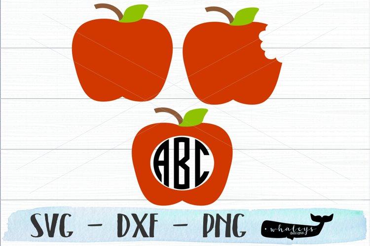 Apple Monogram - Teacher Silhouette and Cricut Cut File example image 1
