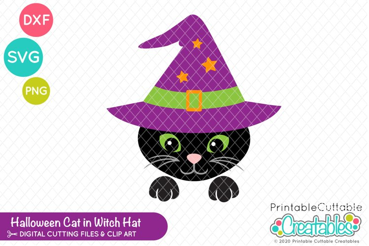 Black Cat in Witch Hat SVG File | Halloween SVG