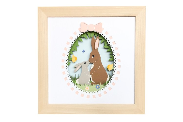 Easter Bunny 3D Shadow Box Layered Papercut Template