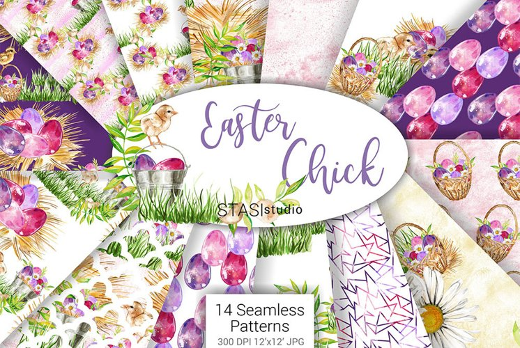 Easter Paper Pack Purple Easter Seamless Pattern Digital Fab example image 1