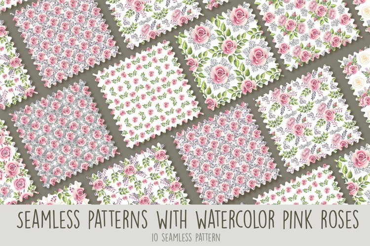 Seamless patterns with pink roses. Watercolor example image 1