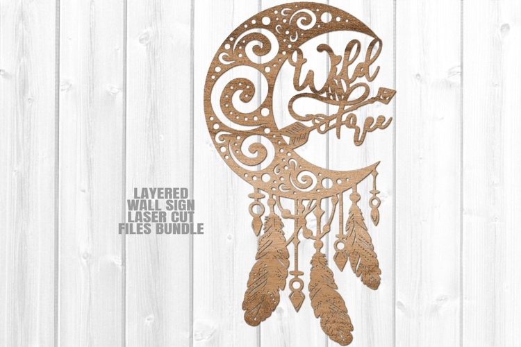 Dreamcatcher Moon Feathers SVG Glowforge Laser Cut Files example image 1
