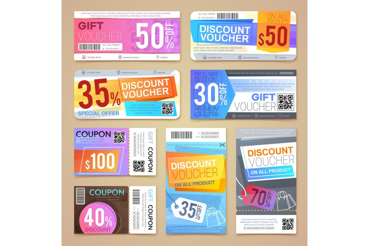 Discount coupons and gift vouchers. Vector promotional mater example image 1