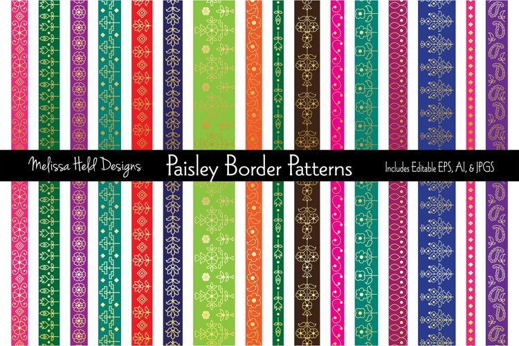 Gold Paisley Border Patterns example image 1