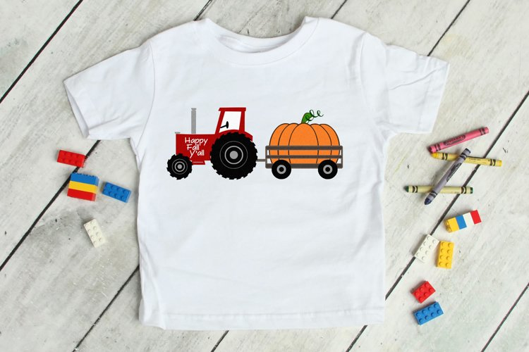 Tractor and Pumpkins SVG, DXF, PNG, EPS Comm and Pers example image 1