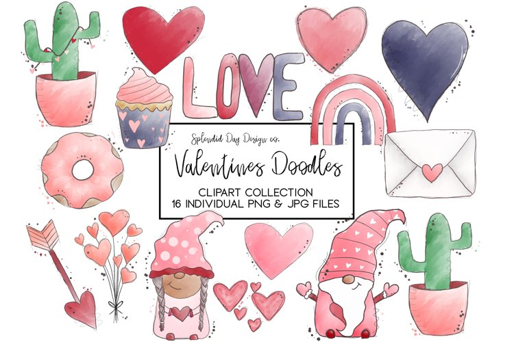 Valentines doodles Clipart collection example image 1