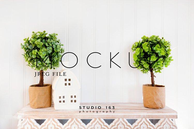 Blank Wall Mockup, Topiary and Shelf, JPEG example image 1