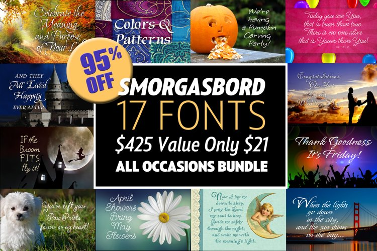 Smorgasbord 17 Font Bundle 95 Off example image 1