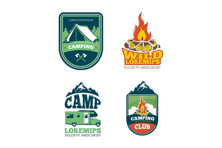 Outdoor adventure camp, hiking camping vector labels, emblem
