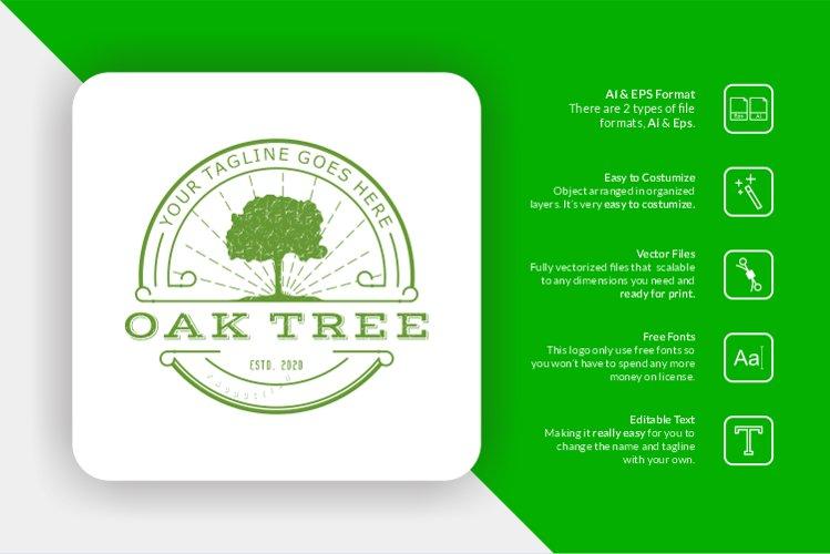 Oak Tree Retro Logo