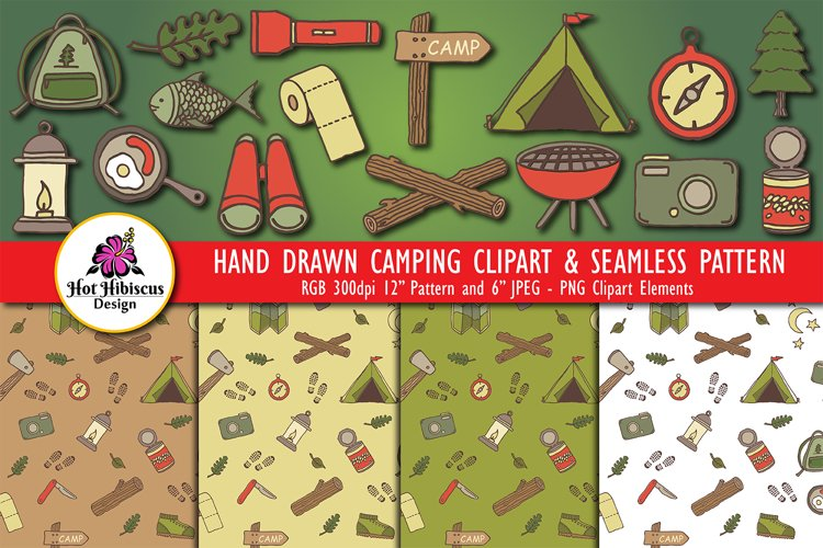 Camping Clipart Bundle   Camper Clipart   Camping Patterns