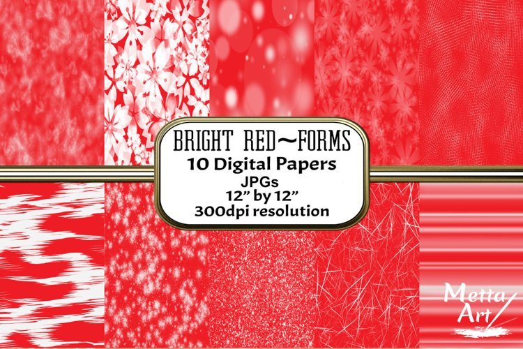 Bright Red Forms - 10 Digital Papers/Backgrounds example image 1