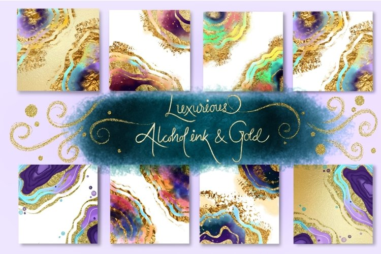 Luxurious Alcohol ink and Gold example image 1