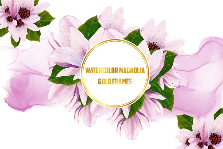 Watercolor Gold Magnolia Frames example image 1