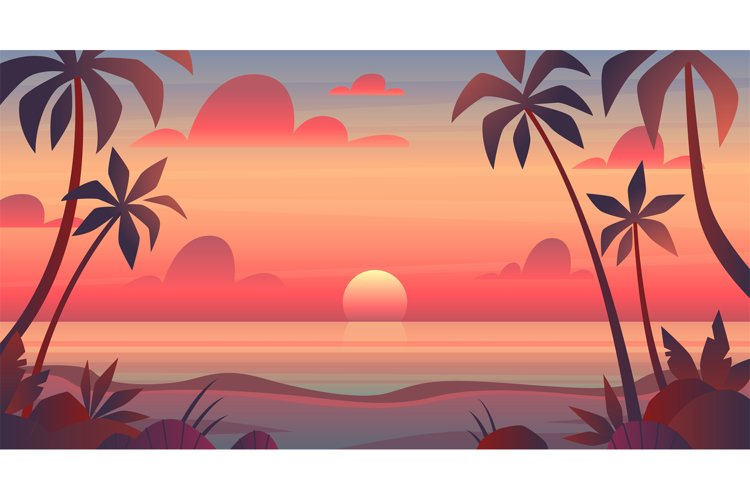 Sea sunset. Evening or morning view of sun above ocean. Pano example image 1