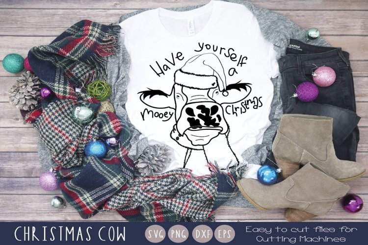 Christmas Cow Illustration Svg|Funny christmas animal svg
