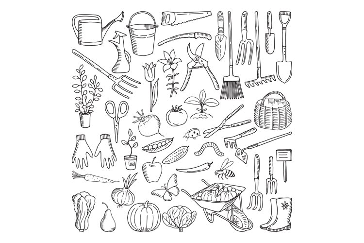 Hand drawn tools for farming and gardening. Doodle of nature example image 1