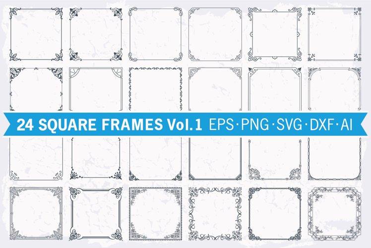 Frames square borders set #1, 24 floral vector backgrounds