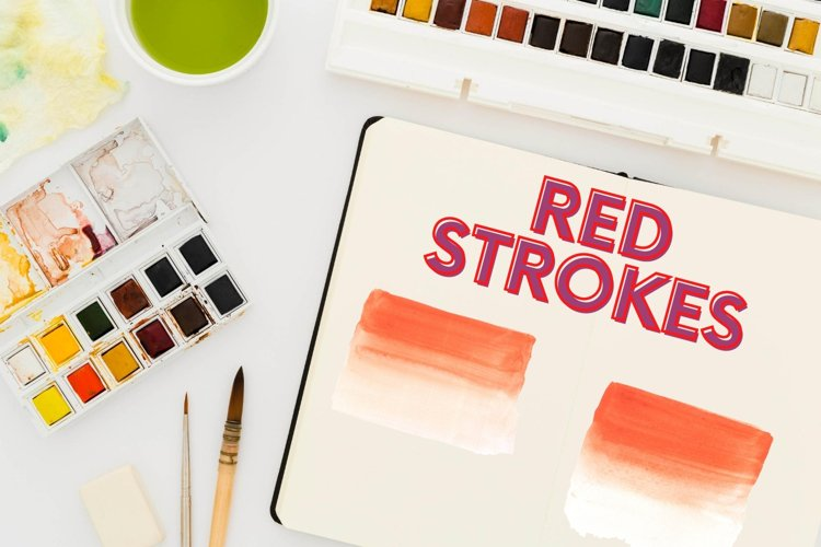 Red Logo Watercolor Elements, Two Tone Red Watercolo Stroke example image 1
