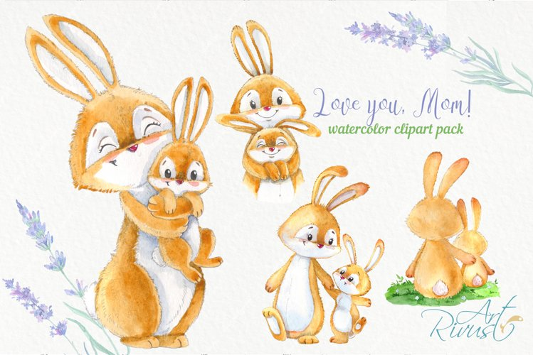 Cute bunny and mom Mothers day watercolor rabbits clipart example image 1