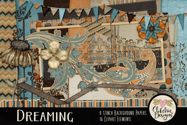 Digital Scrapbook Kit - Dreaming Fall Clipart Elements example image 1