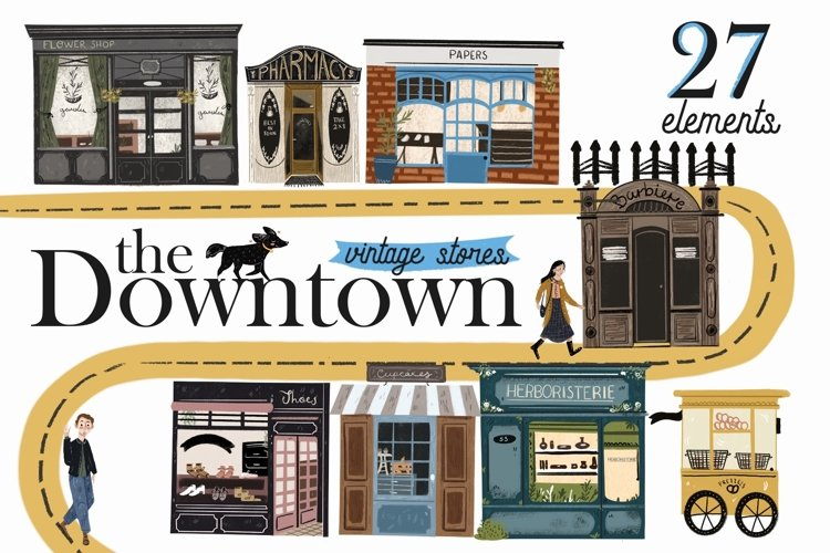 The Downtown vintage stores clip art example image 1
