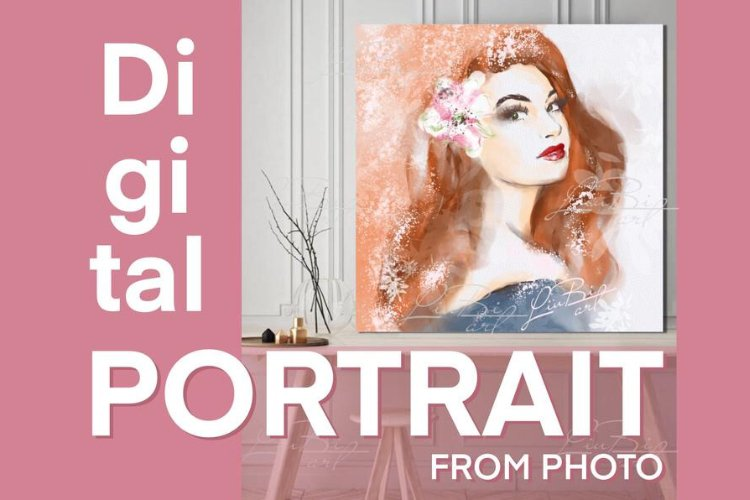 Fashion Custom Portrait from Photo, Digital Painting, Art example image 1