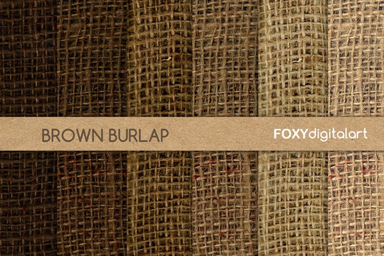 Brown burlap linen jute canvas digital paper fabric textures example image 1
