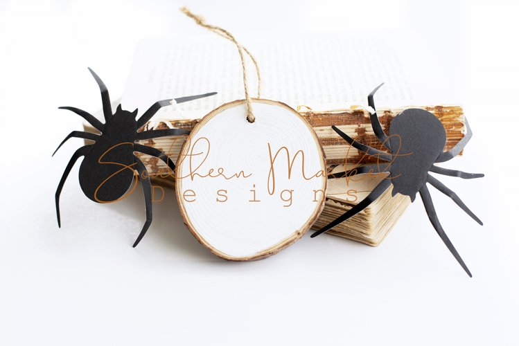 Wood Round Ornament Halloween Mock Up Styled Photography