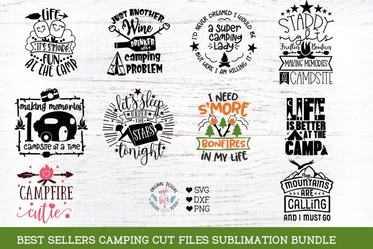 Camping Cut Files and Sublimation Bundle