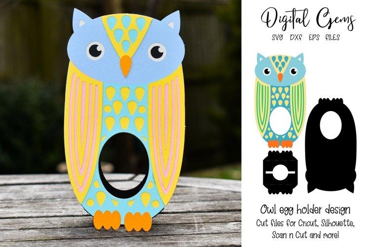 Owl Easter egg holder design SVG / DXF / EPS example image 1