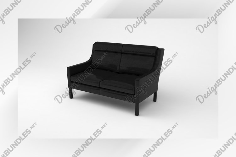Black small sofa front side furniture 3d example image 1