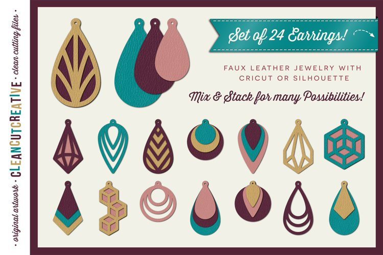 Set of 24 Faux Leather Earrings - SVG DXF EPS PNG craft file example image 1