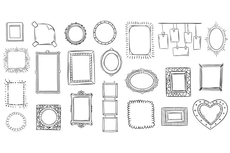 Doodle frames. Hand drawn frame, square borders sketched doo example image 1