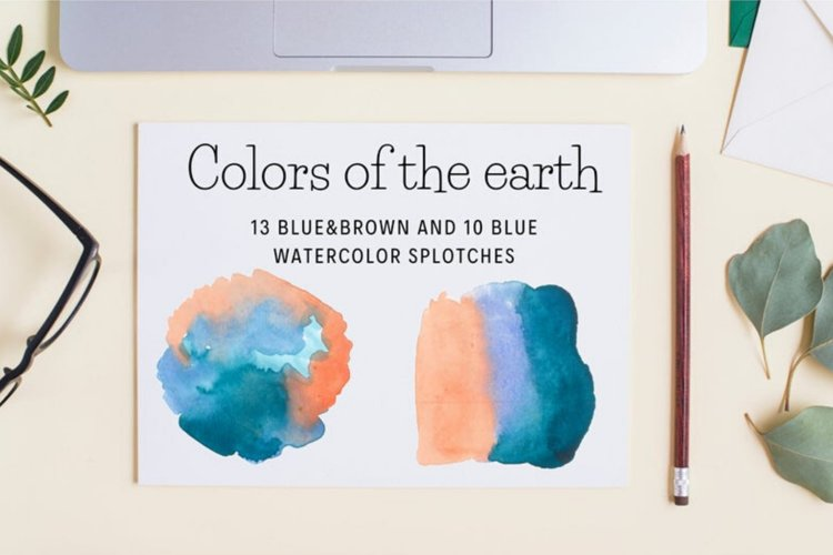 Brown and Blue Watercolor splash cliparts, Earth colors example image 1