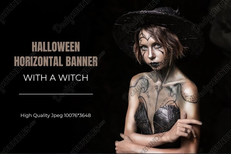 Halloween horizontal banner with witch on black background